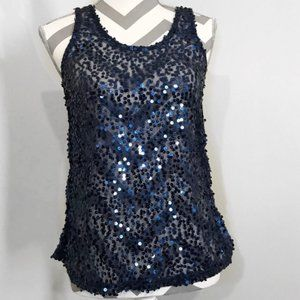 Sheer See Through Relaxed Basic Sequin Tank Top M